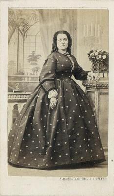 CDV Woman Wearing A Polka Dot Hooped Dress by Martinez of Madrid Spain C 1860 | eBay