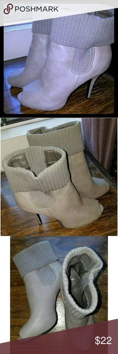 "Gray peep-toe boots with Sweater material on top Gray peep-toe boots are accented with sweater material at the top. With slick 4.25"" stiletto heels. Only worn once. They make the perfect partner for a sweater dress. Shoes Heeled Boots"