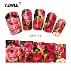 YZWLE 1 Sheet Chic Flower Nail Art Water Decals Transfer Stickers Splendid Water Decals Sticker(YZW-1411) #Affiliate