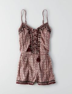 AEO Mirror Lace-up Romper , Burgundy | American Eagle Outfitters