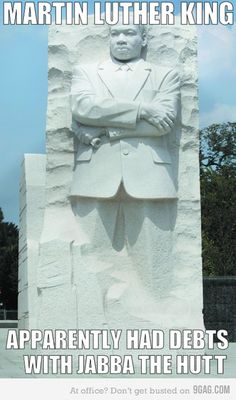 This is hilarious. Only because it's such a controversial monument. He is not one that should be mocked of course.