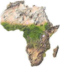 would be interesting with the geography softened a bit. striking a balance with totally flat map with one that has some topography showing. Deserts Of The World, World Geography, Geography Map, Fantasy Map, Topographic Map, Historical Maps, Out Of Africa, African Countries, African History