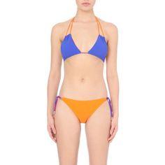 ROKSANDA Artes reversible bikini set ($430) ❤ liked on Polyvore featuring swimwear, bikinis, fuschia orange blue, blue swimwear, roksanda, reversible swimwear, bikini two piece and string swimwear