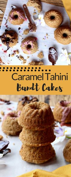 vegan cake | bundt cake | date caramel | gluten free dessert || These miniature bundt cakes are gluten free and vegan, and sweetened with date caramel. They have the perfect hint of tahini flavour and make a great snack or healthy dessert - but no one would know they are healthy!
