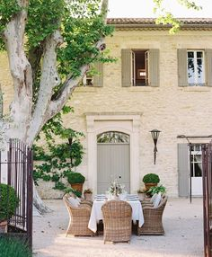 French Entertaining - Flutter Magazine - Summer Dinner Party in Provence at Domaine Clos Saint Esteve French Cottage, French Country House, French Farmhouse, French Country Gardens, French Country Exterior, French Patio, Rustic French, Cottage Style, French Decor