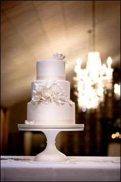 An exquisite 3 tiered wedding cake with classic details. {Bella Via Venue}