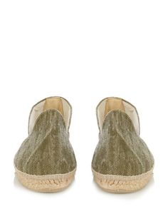 Channel contemporary Mediterranean style in Manebí's khaki-green cotton-canvas La Havana espadrilles. They have a rounded silhouette, a classic woven-jute misdole with a whipstitch edge, and are finished with an embroidered logo at the side. Fits true to size.
