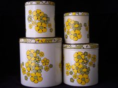 Vintage Kitchen Tin Canisters, Set of Ballonoff USA Retro Nesting Tins, Green and Yellow Flower Power Canister Sets, Canisters, Retro Flowers, Yellow Flowers, Four Tops, Hippie Peace, Design Movements, Vintage Kitchen, Kitsch