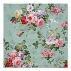 Vintage Elegant Pink Red Roses Pattern Print | Zazzle.co.uk