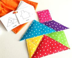 Fabric Tangram Set - Fabric Crafts for Kids Fabric Crafts, Sewing Crafts, Sewing Projects, Fabric Toys Diy, Sewing Toys, Cool Gifts For Kids, Diy For Kids, Easter Gift Baskets, Basket Gift