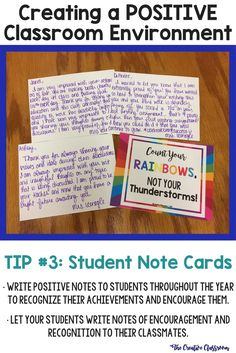 Creating a POSITIVE Classroom Environment with Student Note Cards