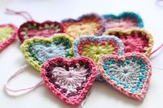 Get festive for Valentine's Day! Crochet up some cute little hearts in any scrap yarns! We love to use up that stash :)