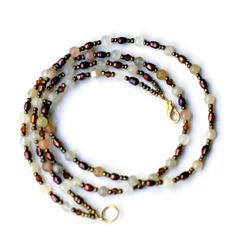 Short Dainty Double Strand Bronze White Necklace/ by ALFAdesigns, $49.99