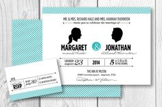 Personalize your wedding invitation with custom bride and groom silhouettes!