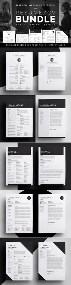 Resume/CV Bundle - Black Collection by bilmaw creative on @creativemarket Professional, minimalist designs. Resume & cover letter templates.