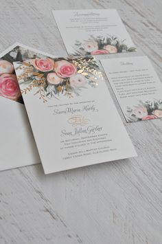 An ethereal illustration of watercolor roses in pink creates the peaceful nature of these beautiful garden wedding invitations. The rose gold foil stamping takes it to the next level. 100% beautiful invitation! #weddinginvitation