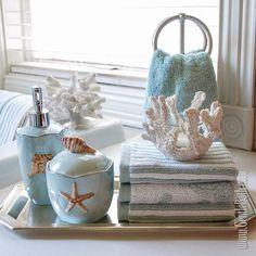 beach style bathroom accessories blue white colors seashells