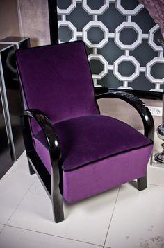 Lila fotel fekete karfával /purpleblack armchair by mullermonika, $1140.00