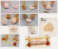 ARTE COM QUIANE - Paps,Moldes,E.V.A,Feltro,Costuras,Fofuchas 3D: passo a passo porquinha de feltro
