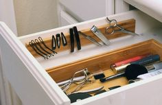 Install a magnetic strip in a drawer to hold all your bobby pins, tweezers, and any other metal tools. | 47 Storage Ideas That Will Organize Your Entire House