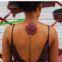 A breathtaking rose. | 17 Tattoos That Prove Your Back Is The Perfect Canvas