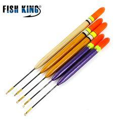 FISH KING Fishing Float 5pcs/Lot 3g 4g 5g Length 15.5cm 17.5cm 19.5cm Vertical Buoy Mix size Wood Barguzinsky Fir Float free shipping worldwide