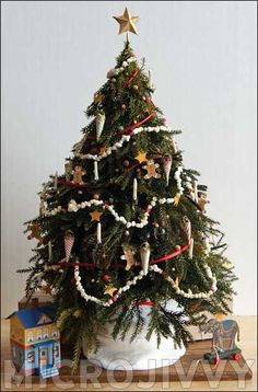 """TUTORIAL: Extensive details about how to make Victorian Christmas tree including several period decorations and """"popcorn"""" streamers, from Microjivvy Victorian Christmas Tree, Miniature Christmas Trees, Christmas Minis, Xmas Tree, Christmas Holidays, Christmas Crafts, Christmas Decorations, Holiday Decor, Christmas 2019"""
