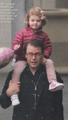 Adorable Princess Estelle of Sweden with her father, Prince Daniel, on a visit to San Fransisco, January 2015.