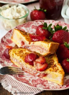 A decadently good breakfast recipe for Mascarpone Strawberry Stuffed French Toast. This is delicious!