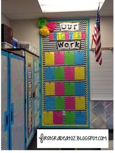Bright Chevron and Polkadots classroom theme! Student classwork board Bright Chevron and Polkadots classroom theme! Neon Classroom Decor, Classroom Layout, Classroom Organisation, First Grade Classroom, New Classroom, Classroom Setting, Classroom Design, Classroom Displays, Classroom Ideas
