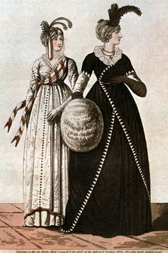 Mourning dress on the right. 1795-98 Mourning. Heideloff's gallery of fashion