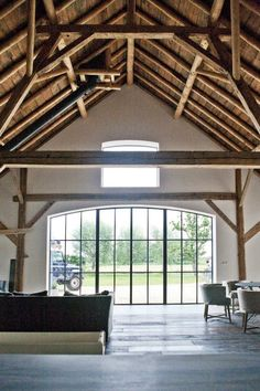 Wood beams, steel and glass window Home Interior Design, Interior Architecture, Barn House Conversion, Different House Styles, Warehouse Design, Converted Barn, Cabin Homes, House Goals, Home Deco