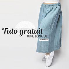 Retrouvez notre auto gratuit pour la réalisation de cette jupe longue en double gaze de coton sur notre e-shop  http://arrow-workshop.com/tissus-patrons/3843-tutoriel-jupe-longue.html