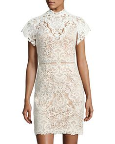 Java+High-Neck+Lace+Mini+Cocktail+Dress+by+Catherine+Deane+at+Neiman+Marcus.
