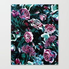 """Fine art print on bright white, fine poly-cotton blend, matte canvas using latest generation Epson archival inks. Individually trimmed and hand stretched museum wrap over 1-1/2"""" deep wood stretcher bars. Includes wall hanging hardware. #wallart #homedecor #gallery #modernart #art #arte #vintage #roses #dark #romantic"""