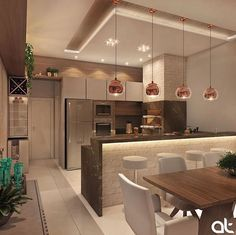 🥰 Projeto AT Arquitetura… Cozinha gourmet lindíssimaa! 😱🥰 Projeto AT Arquitetura Source Modern Kitchen Interiors, Luxury Kitchen Design, Kitchen Room Design, Diy Kitchen Decor, Interior Design Kitchen, Kitchen Ideas, Open Plan Kitchen Living Room, Kitchen Dinning, Dining Room