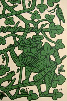 'The Green Man' screen print, detail (Woodwose/ Wodewose/ Wildman) Green Man Tattoo, Historical Tattoos, Historical Art, Maori Tribe, Celtic Art, Medieval Art, In Ancient Times, Tattoos For Guys, Screen Printing