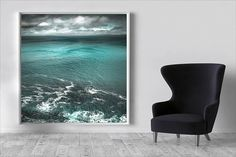 Large Coastal Art, Green, beach canvas large, Seascape canvas art, romantic wall art, abstract coastal art, teal wall art, modern home decor.    From the clifftops of the Isle of Skye I create my romantic collection of seascapes. This one is a view across the Sound of Raasay round the top of Rona to the mainland. Swirling patterns created then disappearing in an instant forever under the waves. Like music that plays on the wind, drifting across the water taking a conversation from one side…