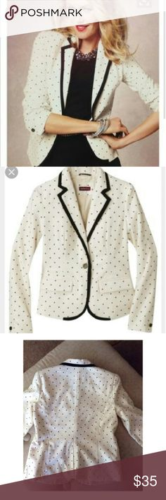 Ivory MERONA Blazer - NEW CONDITION! Off-White Blazer With Black Polka Dots Nice versatile blazer in a cute fabric. *Size 16 - fits like a large!!!*  Shell: 70% Polyester, 25% Rayon, 3% Wool, 2% Spandex Lining: 100% Polyester Merona Jackets & Coats Blazers