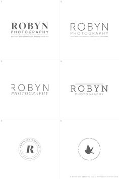 Modern Lovebirds, Robyn Photography Initial Logo Concepts R1
