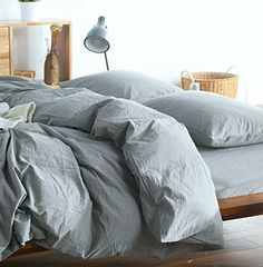 Washed Cotton Chambray Duvet Cover Solid Color Casual Mod...