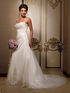 Taft Herz-Ausschnitt Schnürung Perlenstickerei Stickerei Brautkleider