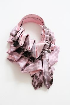 Upcycled necktie scarf. Hand Painted Pink Katherine. $87.00, via Etsy.