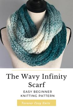 Infinity scarf knitting pattern that is easy enough for beginners. Uses exactly one skein of Lion Brand Scarfie Yarn. Only knits and purls needed. Easy Sweater Knitting Patterns, Infinity Scarf Knitting Pattern, Beginner Knitting Patterns, Crochet Patterns For Beginners, Knitting For Beginners, Free Knitting, Easy Knitting Projects, Scarf Patterns, Knitting Machine
