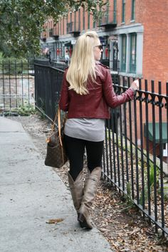 "Savannah: faux leather moto jacket, burgundy leather, tunic, black skinny pants, ""Jane Tall"" Frye boots, gray leather, Louis Vuitton MM tote"