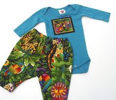 Fun and bright animal print pant and onesie cotton set for your wee one.  Too cute! @Rene Berry #brigteam #gift $36.00 #baby #clothes #jungle #animals