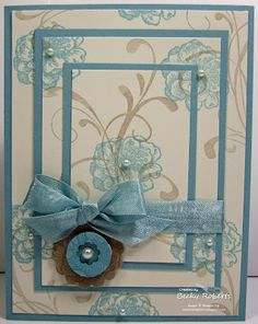 "Cardstock:  Baja Breeze, Very Vanilla  Stamp Set:  Everything Eleanor  Accessories:  Baja Breeze Seam Binding Ribbon, 3/4"" Circle Punch, Flower from Itty Bitty Punch Pack, 1-1/4"" Scallop Circle (coming soon in the Holiday Mini!)"