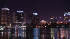 Orlando, Office Building, Reflection, High-rise, Night, Lake, City, Stock Footage,