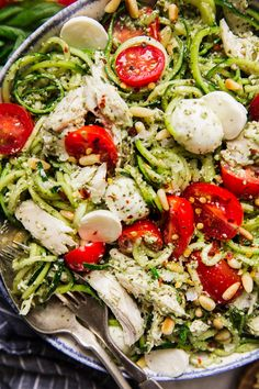 This stunningly beautiful, twisty-twirly pesto zoodle salad with fresh mozzarella, chicken and toasted pine nuts is a textural, colorful study in how to make the most of the late-summer harvest. Best Zoodle Recipe, Zoodle Recipes, Salad Recipes, Healthy Recipes, Cooking Recipes, Meal Recipes, Cooking Ideas, Veggie Recipes, Drink Recipes