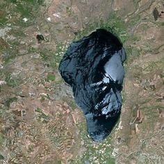 La mer de Galilée, ou lac de Tibériade, vue par le satellite Spot. Ce lac d'eau douce naturel est alimenté par le Jourdain. Il a une superficie de 166 km2 et atteint une profondeur maximale de 49 m. © Cnes, cc by sa 3.0